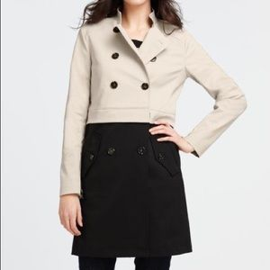 Ann Taylor Convertible Colorblock Trench Coat Q